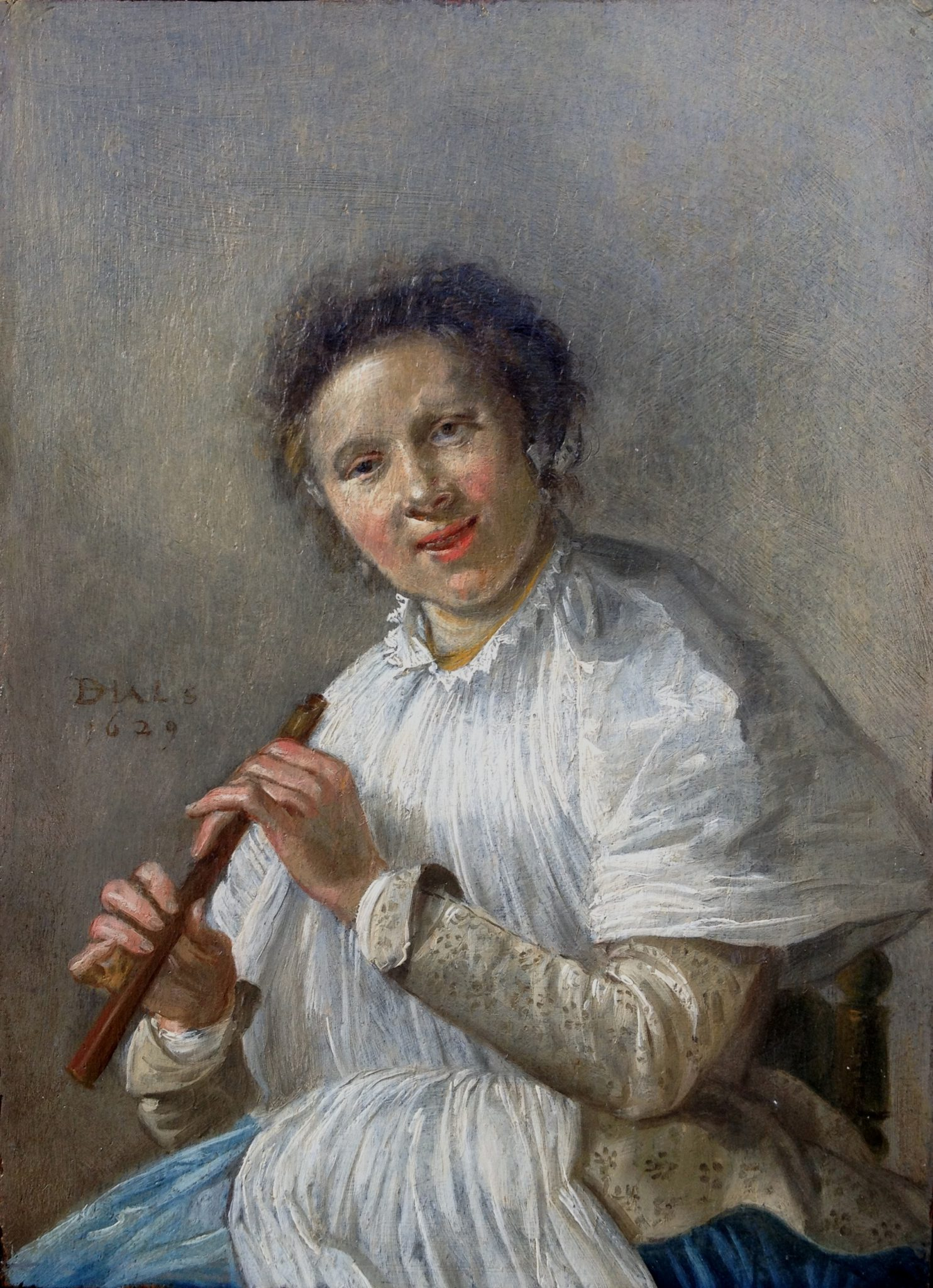 A Charming lady playing a flute