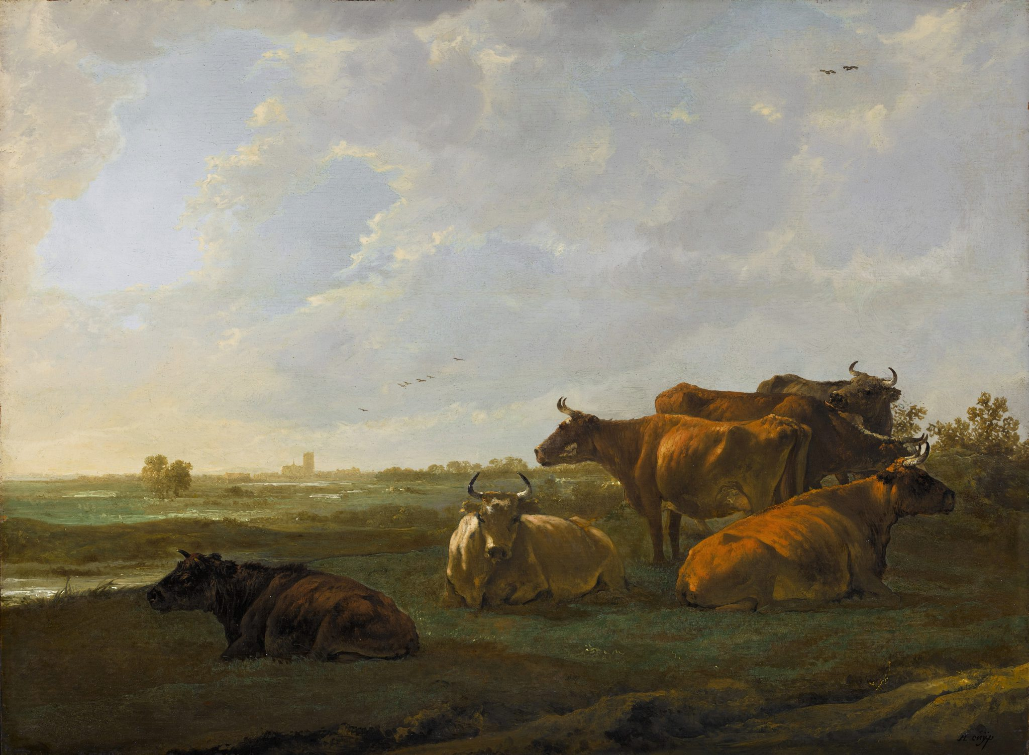 Landscape with cows, Dordrecht in the distance
