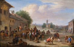A pleasant gathering at a market scene