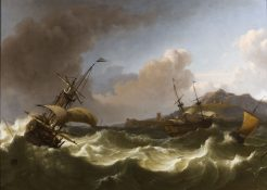 Dutch shipping in choppy seas off a rocky coastlin