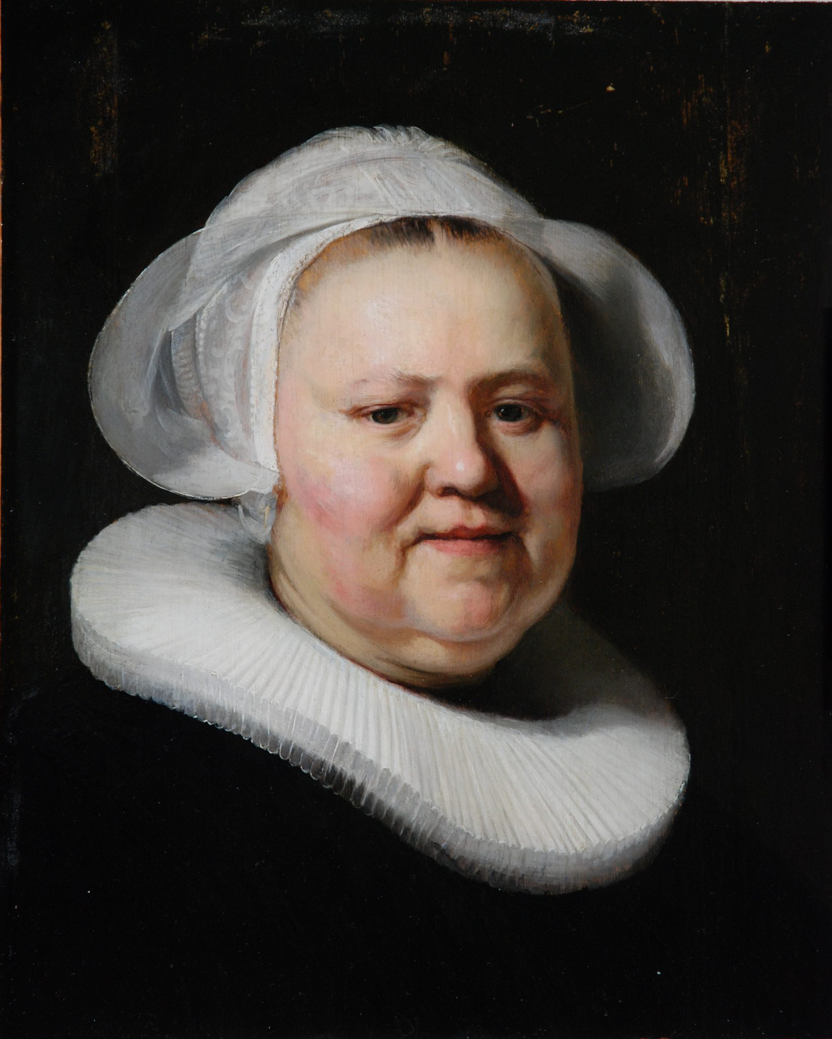 Woman with a white cap