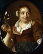 A Peasant woman holding a Glas of Wine