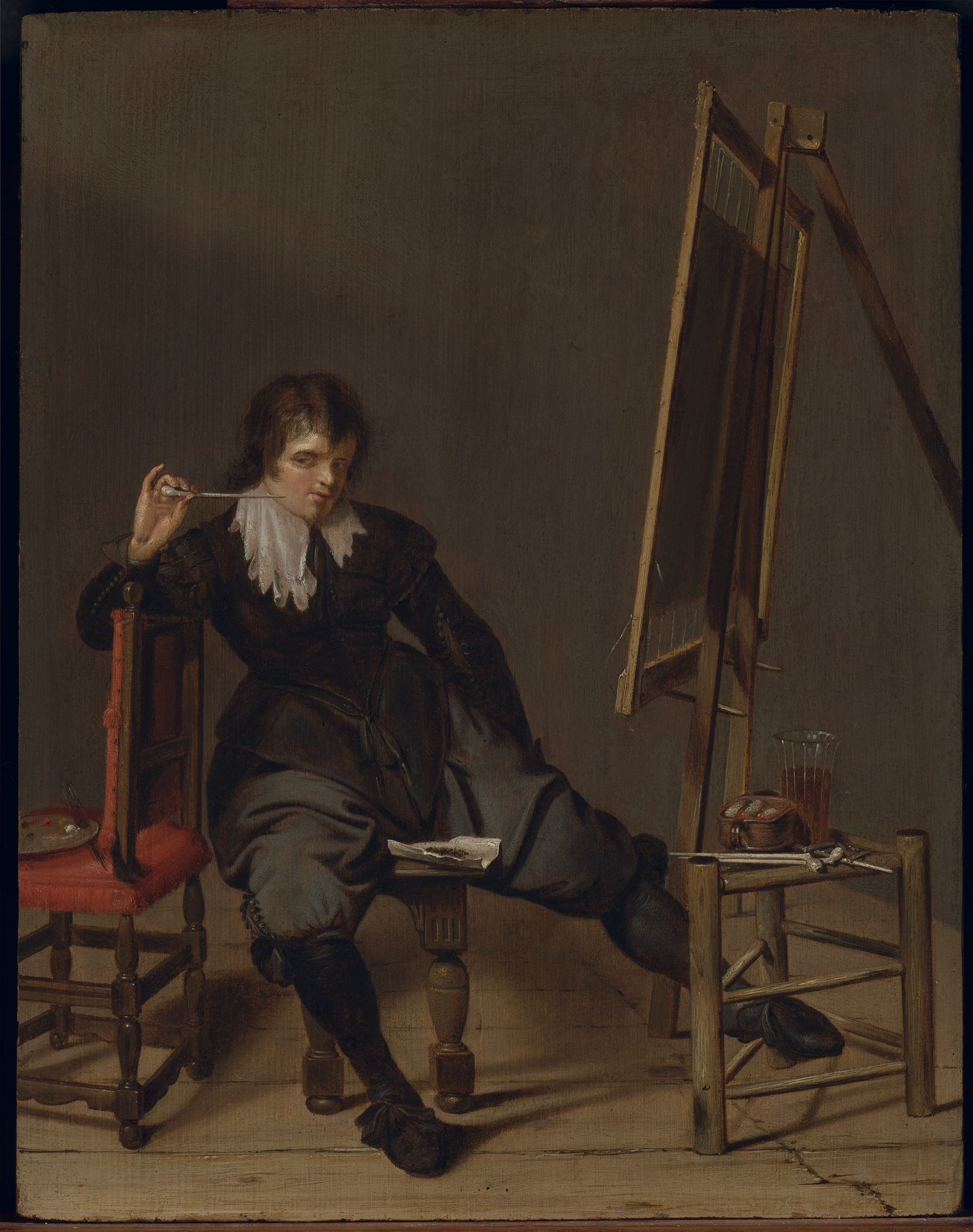 An Artist in his Studio, (a selfportrait?)