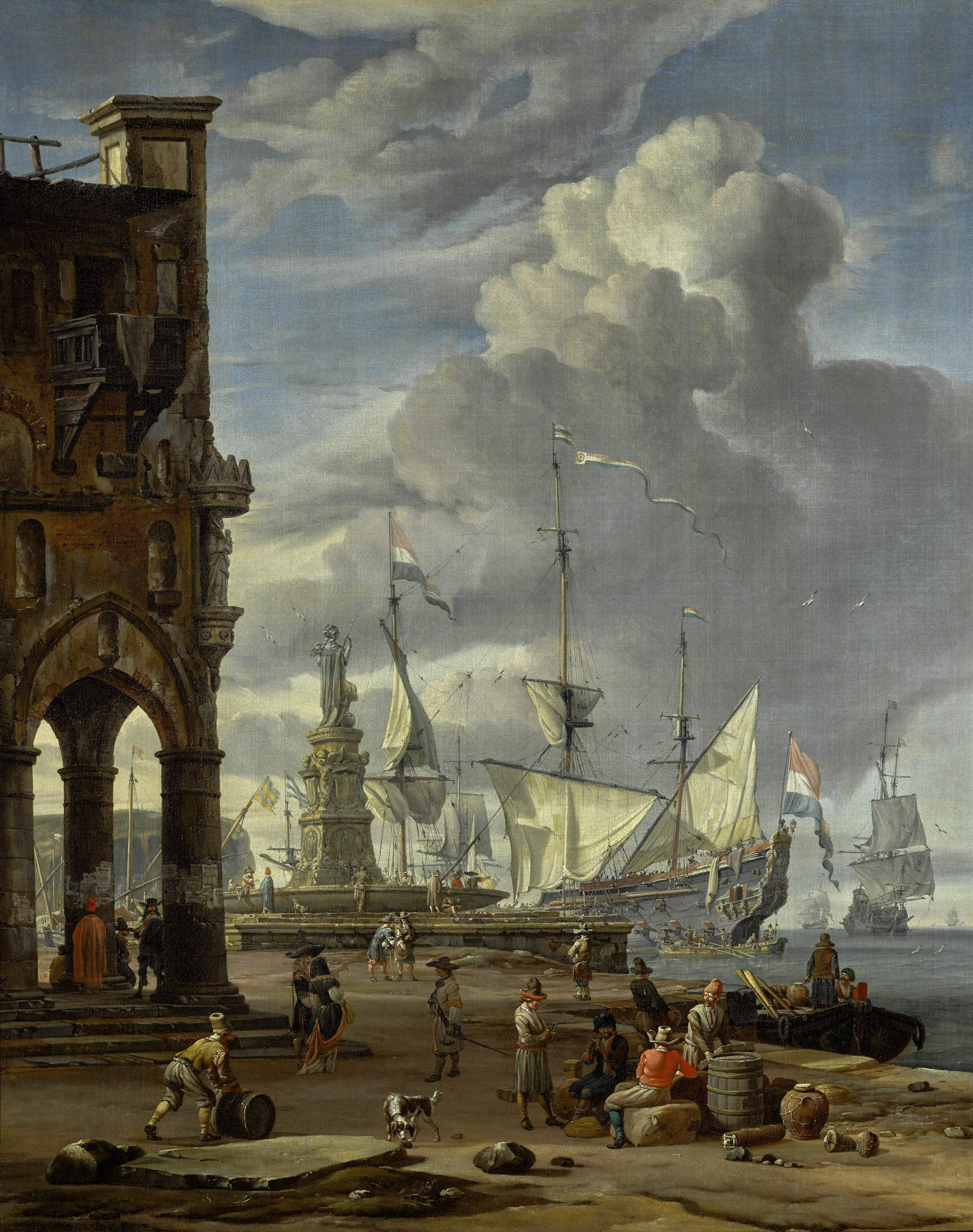A southern port scene with numerous figures on a quayside