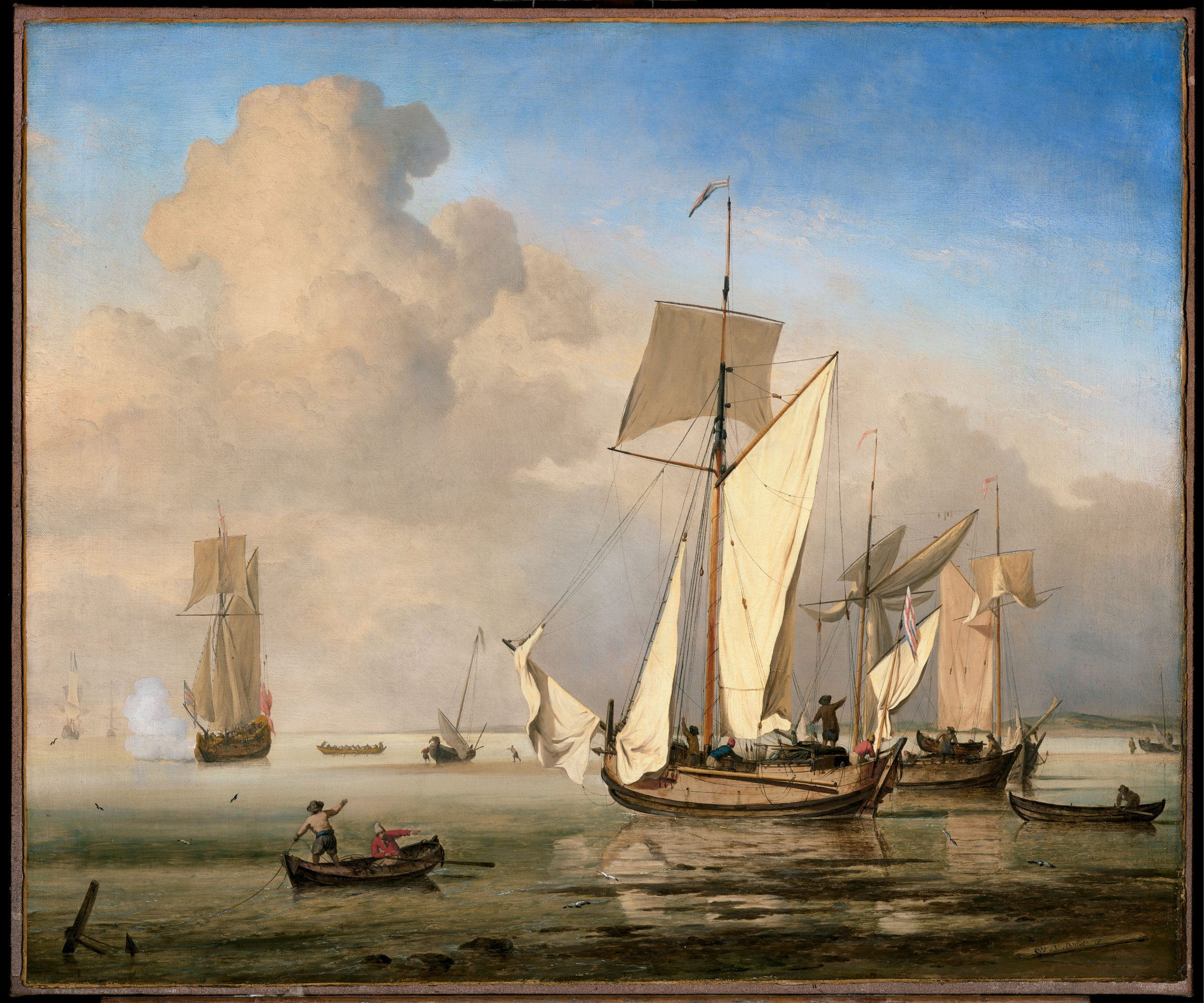 An English Galliot with other Vessels close to the Shore