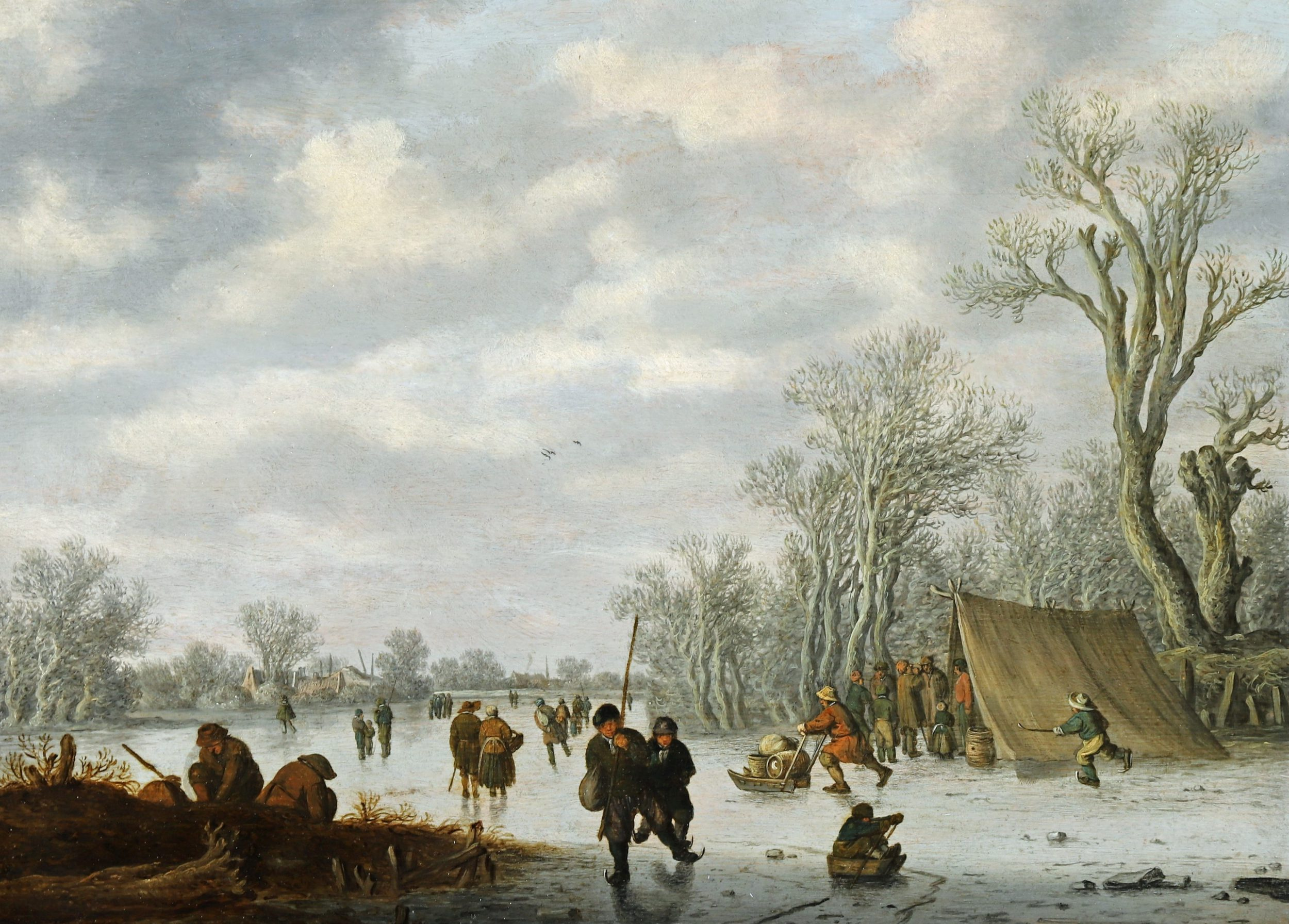 Winter Scene with Skaters on the Ice
