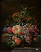 Still life with a Pumpkin, Peach, Grapes and Insects