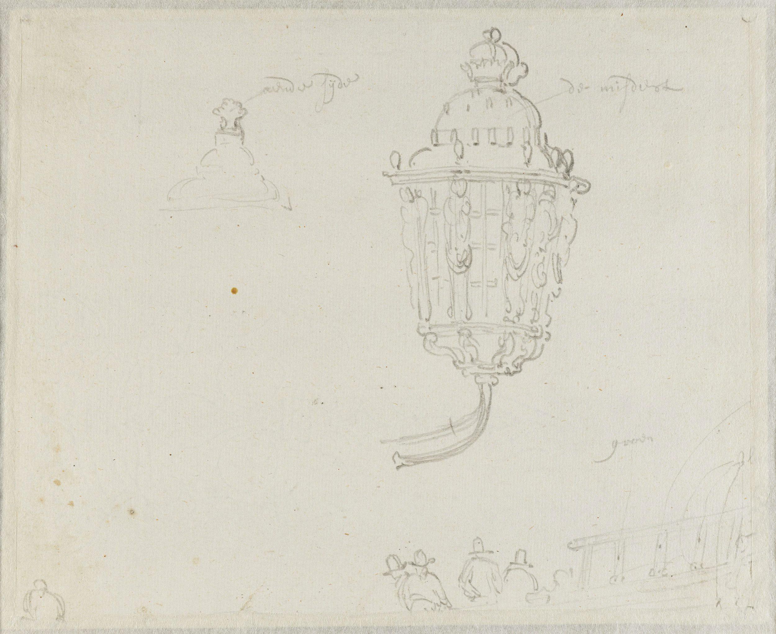English Ships at Sea/ verso: Study of Lanterns