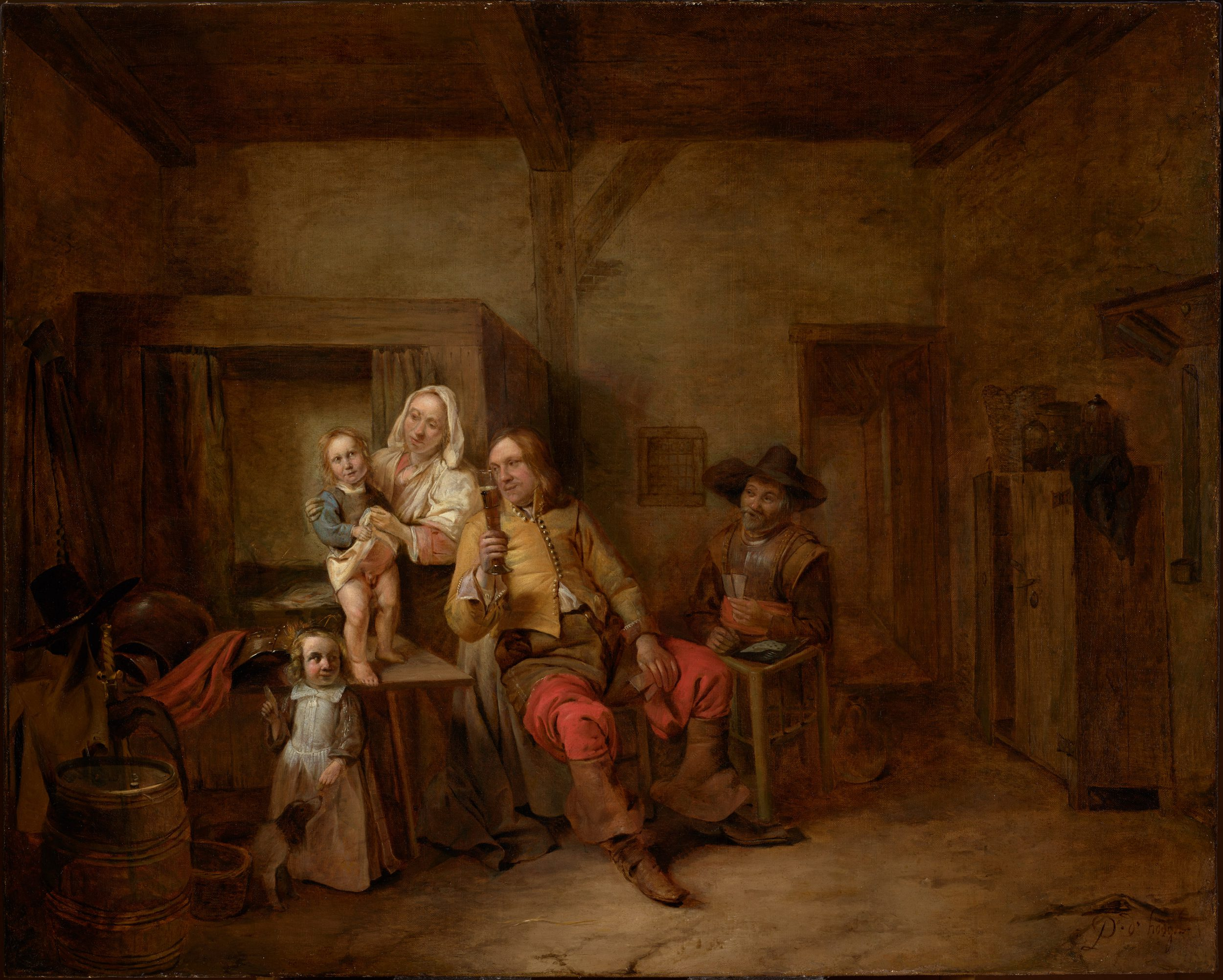 A Soldier and his family in an Interior