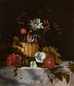 Still Life of a Basket of Flowers on a Marble Ledge